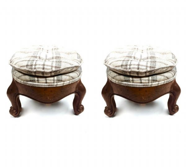 Antique Pair of Victorian Wooden Upholstered Foot Rest Cushioned Stools